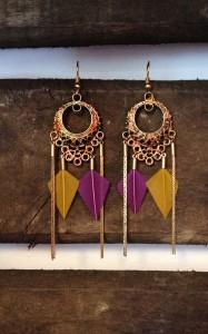 boucles d'oreilles tribale ethnique à plume avec reflet