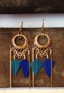 boucles d'oreilles ethniques tribales à plumes et reflets