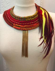 Orixa bijoux - Collier Oshun - Collier à plumes afropunk élégant, tribal, ethnique, boho, gypsy, chic