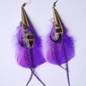 Boucles d'oreilles en plumes ethnique orixa violet