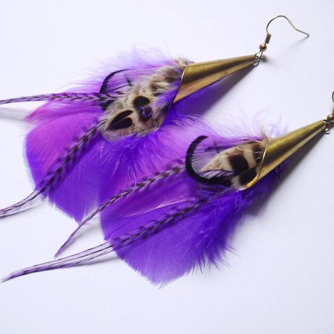 Boucles d'oreilles en plumes ethnique orixa